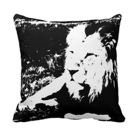 Lion in Black and White Pillow