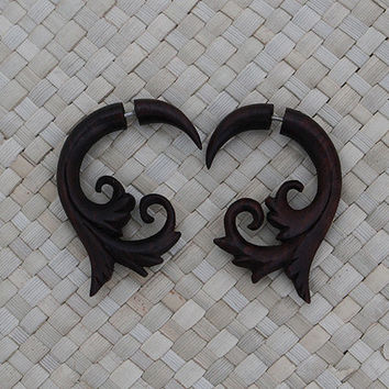 Fake Gauge Wooden Earring - Sono Wood - Spiral Fake Gauge Earring
