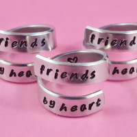 friends by heart - Spiral Rings Set (3 Rings), Hand Stamped, Handwritten Font, Shiny Aluminum, Friendship, BFF