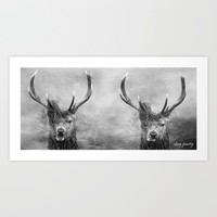 Stag Party Black And White Art Print by Linsey Williams Wall Art, Clothing, And