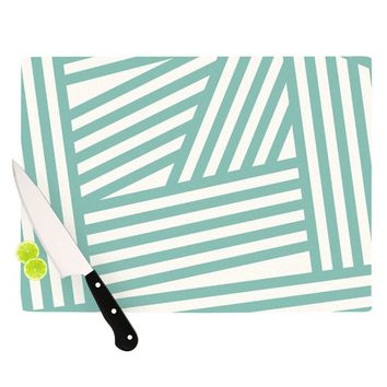 "Louise Machado ""Aqua Stripes"" Cutting Board"