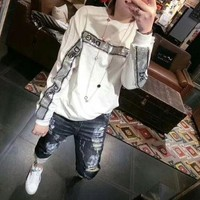 ONETOW Dolce & Gabbana' Women Casual Fashion Sequin Letter Long Sleeve Pullover Sweater Tops