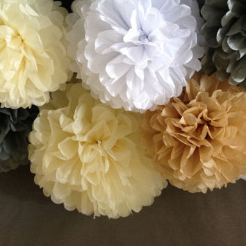 "10 x Tissue Paper Pompoms - Wedding Pom Poms, Paper Pompom, Tissue Pompoms, Baby Shower, Nursery Decor, Party Decoration 12"", 14"", 18"""