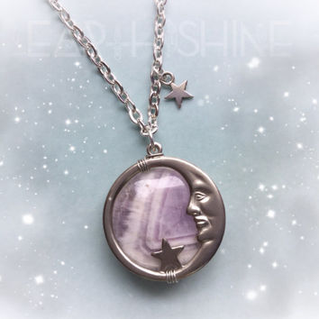 Amethyst Man in the Moon necklace, full moon, nickel plated, moon and stars, celestial