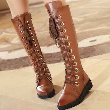 Women Autumn Winter Wedges Chunky Heel Round Toe Genuine Leather Lace Up Fashion Knee High Boots Plus Size 34-41 SXQ01005