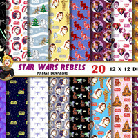 Star Wars Rebels digital paper, Han Solo,Luke Skywalker,Princess Leia, for party,cards, Scrapbooking Paper, star wars backgrounds, patterns