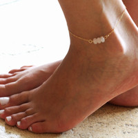 Gold Anklet - Gold Ankle Bracelet - Rose Quartz Anklet - Foot Jewelry - Foot Bracelet - Chain Anklet - Summer Jewelry - Beach Jewelry