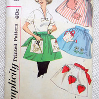 Vintage Sewing Pattern Apron Simplicity 2751 1950s Bib housewife Teapot Scissors Watering Can half One yard