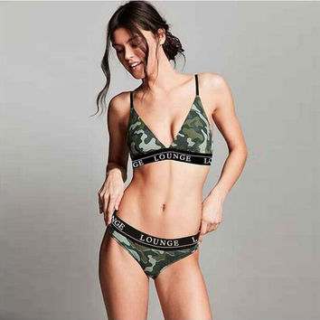 Fashion Camouflage Print Strap Beach Bikini Set Swimsuit Swimwear
