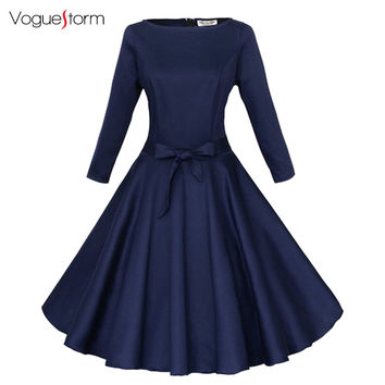 Three Quarter Sleeve Vintage Party Dress Rockabilly Swing