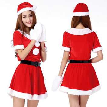 Sexy & Hot Lady Women Christmas Red Santa Claus Velvet Costume Outfit Dress Set Sexy Pajamas