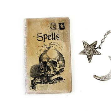 Skull Spell Book Journal - Halloween Notebook - Samhain Diary