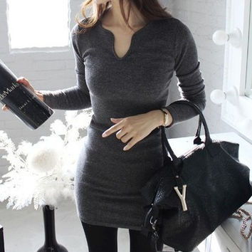 2017 Trending Fashion Knit Sexy Long Sleeve Package Hip V Neck Erotic One Piece Dress _ 12346