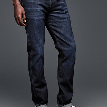Gap Men 1969 Selvedge Stretch Skinny Fit Jeans Scraped Dark Indigo Wash
