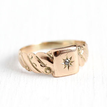 Antique Star Ring - Edwardian 10k Rosy Yellow Gold Diamond Ring - Size 5 Vintage Early 1900s Repousse Incised Star Band Fine Jewelry