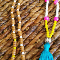 Long Blue Tassel Womens Necklace, Bohemian Colorblock Jewelry, Yellow Hot pink and Blue Statement Necklace, Women's Gift Jewelry