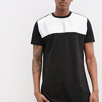 LEEF PARIS Holographic Faux Leather-Paneled Tee