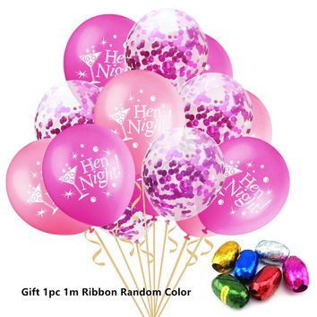 15pcs/set Black White Cheer Bitches Clear Confetti Latex Balloons for Bachelor Party Hen Party Wedding Bride Shower Decorations