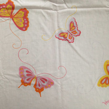 Vintage full sheets, pink bed sheets by Hanae Mori with butterflies