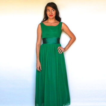 Vintage 60s Kelly Green Evening Dress Gown Sleeveless Maxi Prom Dress, Small