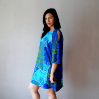 hawaii CUT OUT dress /  cobalt 1950s party by vintagemarmalade