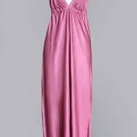 1970's Mauve Long Maxi Halter Dress - M :