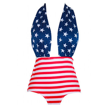 Retro Style Navy Stars Wrap & Red Stripes Print Maillot! Beautifully Retro!