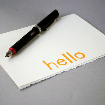 Hello Greeting Card Yellow on Ivory Blank by CursiveArts on Etsy