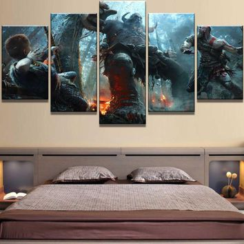 God of War Kratos Battle Giant 5 Piece Canvas Wall Art Home Decor