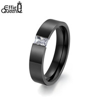 Effie Queen New Style High Quality 316L Stainless Steel Rings with Square Crystal Wedding Engagement Rings for Men Women WTR78