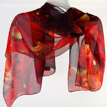 "Long Silk Chiffon Scarf - ""Autumn Fire"" 3D Fractal Design, red and yellow summer scarf, gift for her"