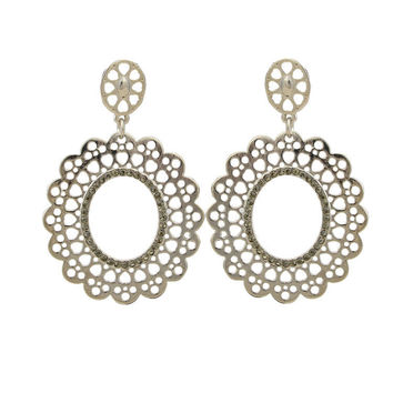 Cutout Pave Crystals Earrings