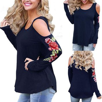 US STOCK Women Ladies Cut Out Long Sleeve T-shirt Cold Shoulder Loose Top Blouse