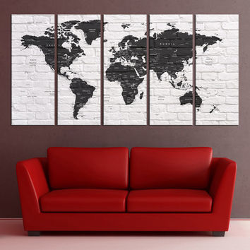 black and white Push pin world map canvas print wall art, extra large wall art,  world map push pin travel canvas, print No:5S32