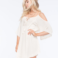 Flying Tomato Crochet Bib Cold Shoulder Womens Peasant Dress Ivory  In Sizes