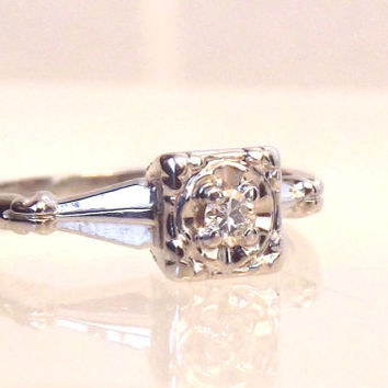 Sale/ Vintage Diamond 14K White Gold Solitaire Ring