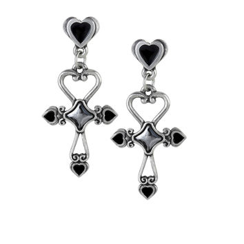 Alchemy Gothic Amourankh Heart Cross Earrings