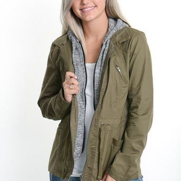 Olive Hooded Military Jacket