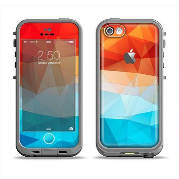 The Vector Abstract Shaped Blue-Orange Overlay Apple iPhone 5c LifeProof Fre Case Skin Set