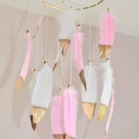 Nursery Baby Mobile, Boho Baby Girl  Mobile, Pink Dreamcatcher Mobile, Baby Girl Nursery  Bedroom Decor, Gold Nursery Decor, Bohemian Decor