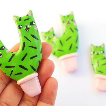 Clay Cat Cactus Brooch - Pink Pot