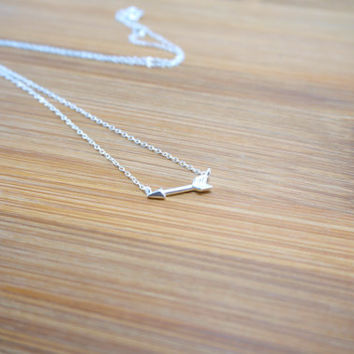 Sterling Silver Arrow Necklace - Arrow necklace, Sideways Arrow, Horizontal Arrow, Gift for sister, girlfriend, best friends