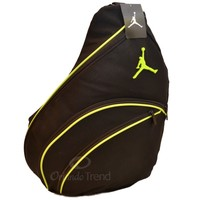 Nike Air Jordan Black Green Sling Backpack Jumpman Gym Book Bag Mens Boy New