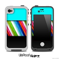 Three-Toned Turquoise Slanted Color Striped Skin for the iPhone 5 or 4/4s LifeProof Case