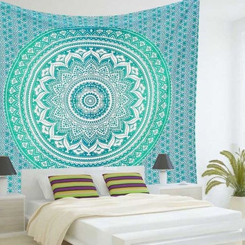 India Mandala Sky Blue Beach Throw, Bed Manta, Yoga Mat,Tapestry 210*150cm
