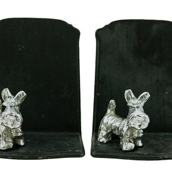 Vintage Cast Iron Bookends. Art Deco Animal Bookends, Scottie Dog Bookends, Library, Decor for Kids, Office Decor