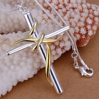 Sterling Silver Wrapped Cross Pendant Necklace