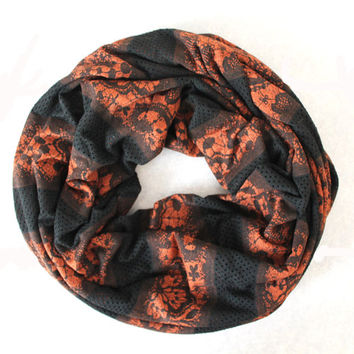 mesh black-orange scarf,infinity scarf, scarf, scarves, long scarf, loop scarf, gift