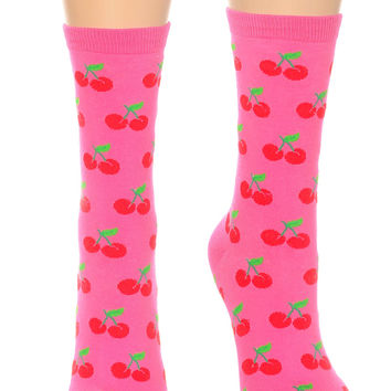 Retro Fifties Fuchsia Cherries Socks