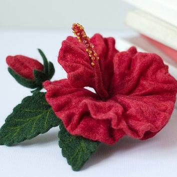 Felted Flower Brooch Red Hibiscus - Flower Pin Brooch - Handmade Wet & Needle Felted Red Flower Brooch